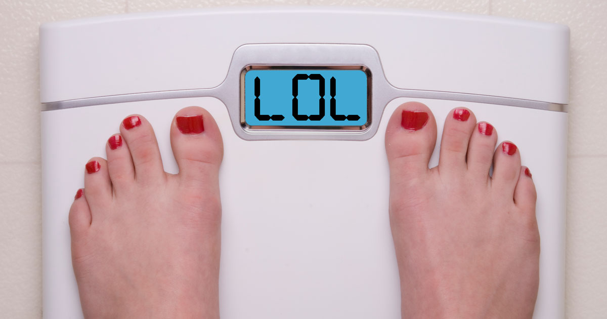 "Woman standing on scale that reads ""LOL"""