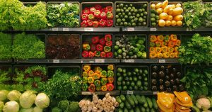 Produce shelf in grocery store
