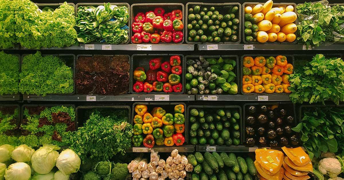 Produce shelf in grocery store
