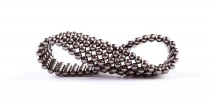 Metal bracelet made up of silver balls - an example of a menopause product